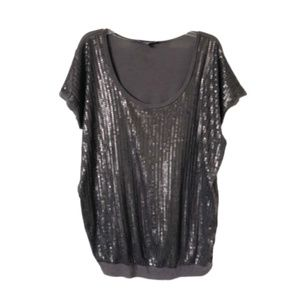 EXPRESS | Charcoal Short Sleeve Sequin Top